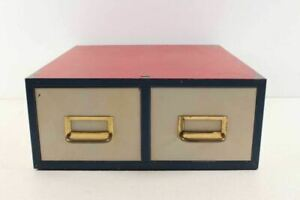 Vintage Two Drawer Table File Cabinet Red White Blue Paint