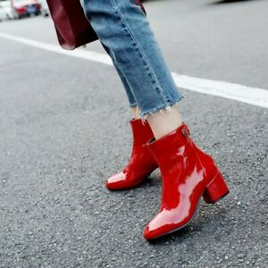 Women's Ankle Boots Chunky Block Heels Patent Leather Boot Zip Square Toe Shoes