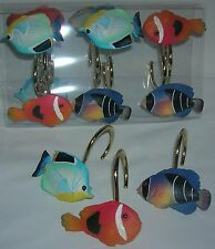 New in Box Creative Bath 12 Tropical fish shower curtain hooks Multi-color