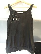 EVIE black sequins embellished floral sexy top Size 10 12 Check measurements