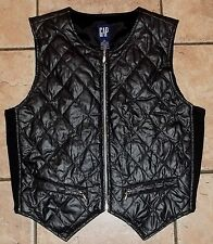 Ladies GAP~Black Faux Leather VEST size MEDIUM~NEW Full Zip Quilted Jacket