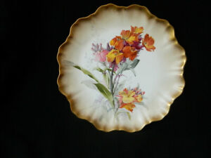 "ANTIQUE DAVID DEWSBERRY DOULTON HANDPAINTED CABINET PLATE ""WALLFLOWER"" 1891/1902"