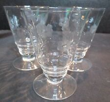 Floral Footed 3 Crystal Etched Parfait Tumblers