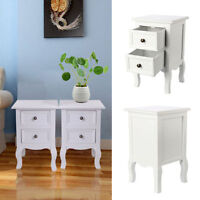 Set of 2 Stylish ShabbyChic White Small Bedside Table Unit with 2 Drawer Storage