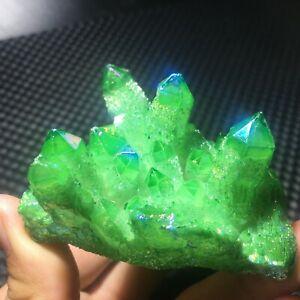 102G Natural Electroplated color crystal cluster quartz mineral specimen EB361NE