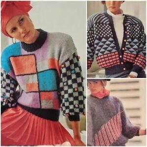 1980s Mohair Colour Block Batwing Lantern Sleeve Knitting Pattern Sirdar 7614