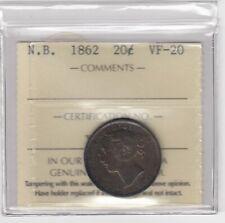 1862 New Brunswick Twenty Cents Silver Coin - ICCS VF20 Cert #XTK 825
