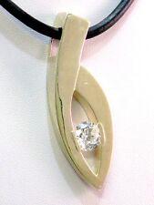 Kautschuk Halskette Collier mit Bergkristall Anhänger Silber 925 Silver Pendant