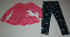 New Carter's 6x yr Girls 2 Piece Set Pink Unicorn Tunic Top & Leggings Outfit