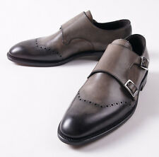 NIB $895 CANALI 1934 Gray Goodyear-Welt Double Buckle Monk Strap US 10 D Shoes
