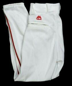NEW Majestic Premium Cool Base White Red Baseball Pant Youth Medium