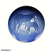 Bing Grondahl Mothers Day Plate Horse Mare Foal Vintage 1972 Mors Dag Blue White