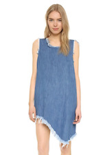 MARQUES ALMEIDA ASYMMETRICAL DENIM FRAYED DRESS SMALL