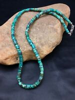 Native American Turquoise 6 mm Heishi Sterling Silver Bead  Necklace Rare 2502