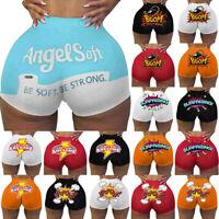 Summer Women Shorts Letters Print Sport Workout Clubwear Homewear Short Pants AU