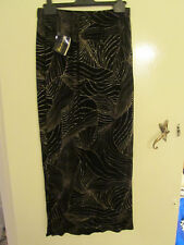 Black Velour / Velvet Style & Metallic Gold Festive Maxi Skirt in Size 12 - NWT