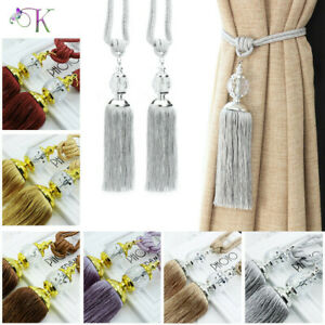 Pair Silver Curtain Holdbacks Rope Tie Backs Tassel Tiebacks Beaded Ball Decor