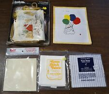 Needlepoint Grab Bag - 2 Partially Complete Projects, 3 packs Fabric 14 18 Count