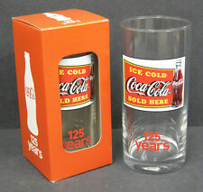 NEW COCA COLA BOXED RETRO 125 YEAR ANNIVERSARY COLLECTORS PUB BAR UNUSED GLASS