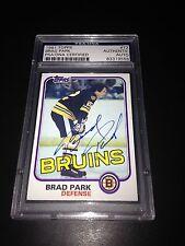 Brad Park Signed 1981-82 Topps Boston Bruins Card PSA Slabbed #83319556