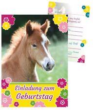 8 schöne Einladungskarten süßes Fohlen Pferd Pony Kindergeburtstag Mädchen Set