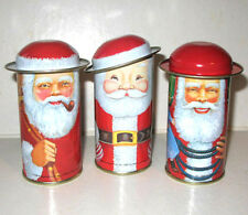 (3) VINTAGE SANTA CAP TIN LITHO Christmas CONTAINERS Mint Condition B. Shackman