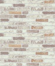 Erismann Wallpaper - Stone Wall / Brick - Natural Grey / White -Textured 6703-11