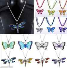 Pretty Butterfly Silver Crystal Rhinestone Bling Pendant Necklace Gift