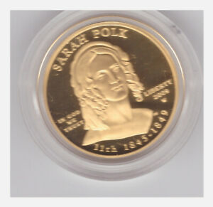 2009-W $10 Sarah Polk Gold First Spouse PROOF Coin - Box & COA