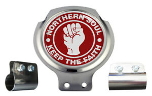 Northern Soul Red & White Design Scooter Bar Badge - FREE BRACKET & FIXINGS