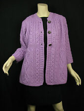 Kilronan Knitwear Ireland Lilac 100% Wool 3/4 Sleeve Cardigan Sweater Ireland L