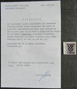 Croatia 1941 regular issue, 5.5D, w/ CERTIFICATE, DOUBLE OVERPRINT, unused