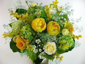 Strauß Blumen Seidenblumen Tulpen Ranunkeln Narzisse Mimose gelb
