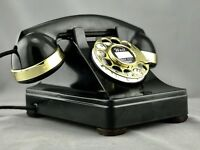 Vintage Antique Western Electric 302 Rotary Dial Telephone with Brass Trim