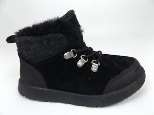 Ugg Australia Obie Kids WP Shoes Lace Up Black Suede Toddler SZ 9.0 T,    1567