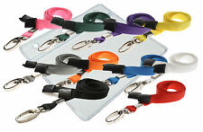 Plastic ID Badge Card Pouch Pocket Wallet & Neck Strap Lanyard Lobster Clip lot