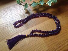 Natural Amethyst Crystal 108 +1 Bead Jap Mala for Meditation Healing Spirit Calm