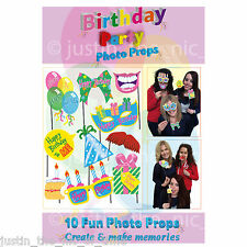 10 Happy Birthday Selfie Photo Props Booth Kit Party Games & Accessories