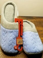Dearfoams Women's Slippers Clogs X Large 11-12 Light Blue Quilted Upper