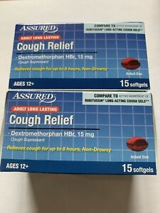 Adult COUGH RELIEF Capsules Compare To Robitussin Long Acting Cough Gels #30
