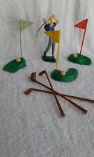 Vintage Golfer Golfing Cake Topper Wilton Plastic 1978 Clubs Flags Holes