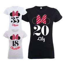 Official Disney Minnie Mouse Bow & Ears Womens Personalised Birthday T-Shirt