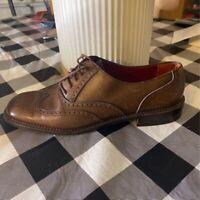 Salvatore Ferragamo Womens Oxford Flat Shoes Brown Wingtip Lace Up 7.5 B