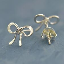 Tie the Knot Bow Ribbon Sterling Silver Stud Post Earrings Bridesmaid Gift