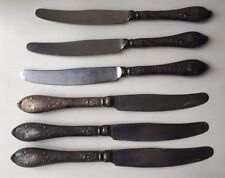 Six Vintage Russian Ornamented Kitchen Table Silver Plated Knives Silverware