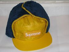 SUPREME New York Box Logo Quilted Earflap Camp Cap Yellow/Blue S/M NEW! F/W 2016
