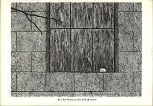 1979 Edward Gorey Poster Print N is for Neville From The Gashlycrumb Tinies