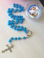 12-Baptism Favors Rosaries Cross Scented Blue Party Recuerdos De Bautizo Rosario