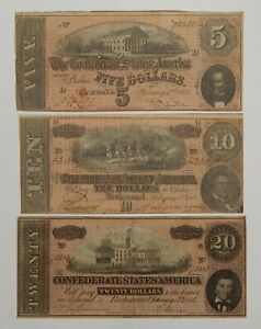 1864 - The Confederate States America Notes - $5 / $10 / $20 - Lot of 3 - U.S.