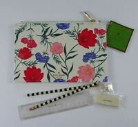 Kate Spade BLOSSOM Floral 6-PC Stationary Pencil Pouch Cosmetic Case Set NWT